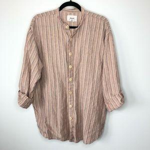 Flax Button Down Rainbow Striped Tunic Top
